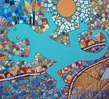 Gecko on Mosaic Landscape. by Wendy Taylor