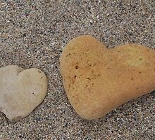 Hearts on the beach by Kyoko Beaumont