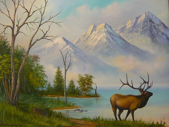 Elk at Wilderness Mountain Lake by Vivian Eagleson