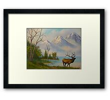 Elk at Wilderness Mountain Lake Framed Print