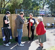 Newbies and Seasoned Voter on Election Day by Bernadette  Smith