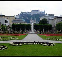 Hohensalzburg Castle from Mirabell Gardens by kelliejane