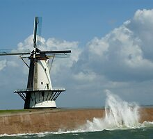 WindMill at stormy weather by Els Steutel