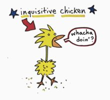 Original Inquisitive Chicken color T shirt by Ollie Brock