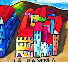 LA  RAMBLA - BARCELONA , SPAIN  by ART PRINTS ONLINE         by artist SARA  CATENA