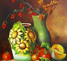 Tomatos and a Sunflowered Vase by Dominica Alcantara