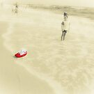 The boy on the beach and Red boat. by Olexandr Prokopchenko