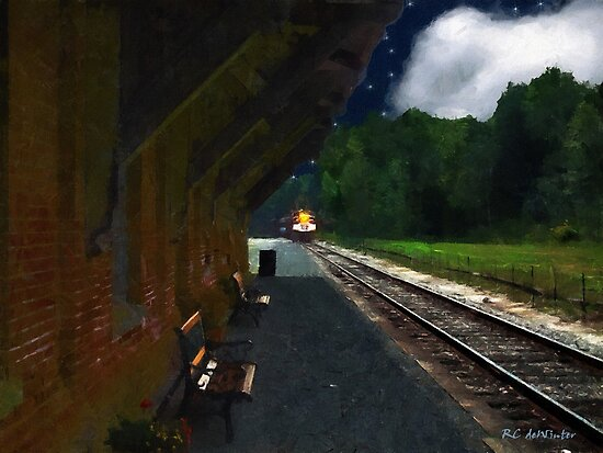 Thomaston Train at Night by RC deWinter