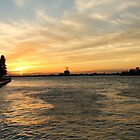 Sunset over the Detroit River by kristijacobsen