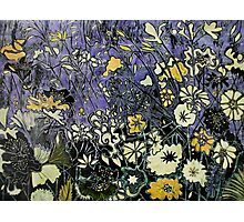Woodcut Flower Print - Yellow Photographic Print