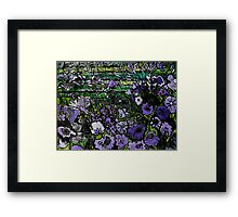 Woodcut Flower Print - Mauve Framed Print