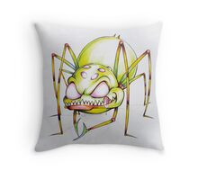 Green spider licking his lips Throw Pillow