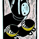 Coffee for Two - Lino Print by Sarah  Edmondson