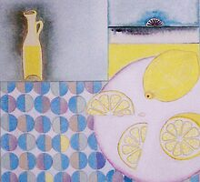 Lemons with tablecloth by sue mochrie