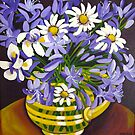 Agapanthus & Daisies by marlene veronique holdsworth