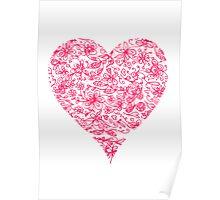Pink Flower Heart Poster