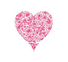 Pink Flower Heart Photographic Print