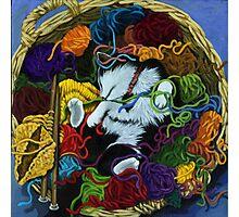 """Knitter's Helper"" - cat portrait painting Photographic Print"