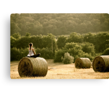 Presence of Mind - Hay Bale Relaxation in Hungary Canvas Print