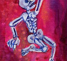 Dancing Skeleton on Hot Pink by Candace Byington
