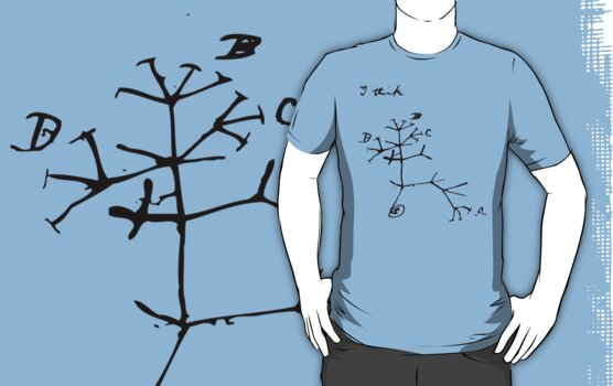 Darwin I Think Tree (Black) by sciencemerch