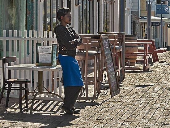 Waitress waiting by awefaul