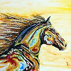 Wind and Fire - Abstract Oil Painting of Horse by jlkinsey
