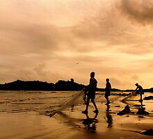 fishermen on the beach by Dinni H