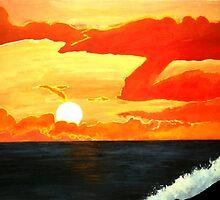 Sunset over the California Coastline - Orange County Orange Sunset Acrylic Painting by Rick Short