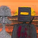 """Ned Kelly's Emu Mate"" Original Australian Acrylic Painting; SOLD by EJCairns"