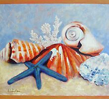 Starfish with Shells  Acrylic 75x60cm by Carla Whelan
