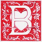 Red Heart Letter B by Donnahuntriss