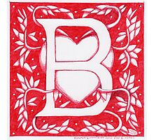Red Heart Letter B Photographic Print