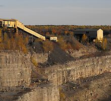 Abandoned Open  Iron Ore Mine Pit and Buildings- Marmora Ontario Canada. by Tracy Faught