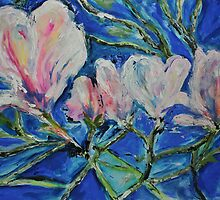 Magnolias at the end of Winter by Julie-Ann Vellios