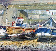Cobles Under the Bridge, Staithes by Sue Nichol
