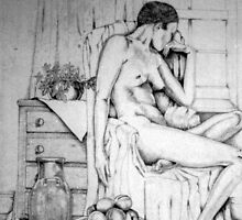 Reclining nude with fruit by Anne D'Alton