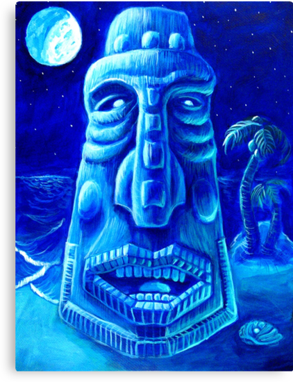 Moonlit Moai-Tiki Painting 1 by rawjawbone