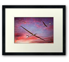Three Gliders Over The Devil's Dyke At Sunset Framed Print