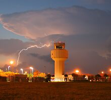 Air Traffic Control Tower and Lightning by Scott Boileau