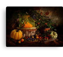 Pumpkin, Squashes and Hedgerow Fruit Canvas Print