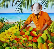 Manuel the Fruit Vendor at the Beach by Dominica Alcantara