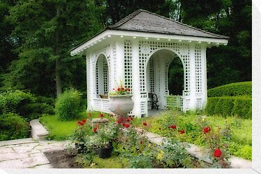 Gazebo in Rose Garden by Gerda Grice