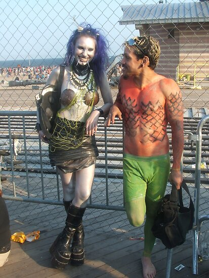 Goth Mermaid and Merman by Bernadette Claffey