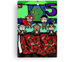 The Superheroes Alphabet- 5 little monkeys Canvas Print