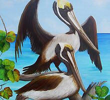 Pelicans on the Beach by Dominica Alcantara