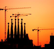 Sunset Sagrada Familia by Danni Hindle