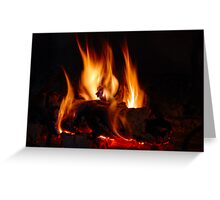 Fire in fireplace Greeting Card