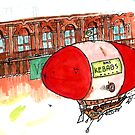 Zeppelin in watercolour and ink by Ben Cresswell