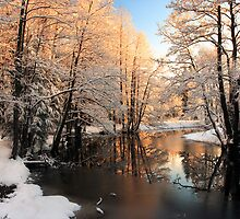 Winter river sunrise light by Romeo Koitmäe